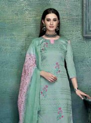 Satin Green Embroidered Designer Palazzo Salwar Kameez
