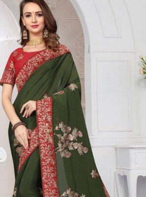 Satin Green Zari Classic Saree