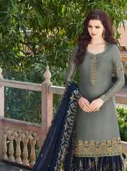 Satin Grey and Navy Blue Embroidered Designer Pakistani Suit