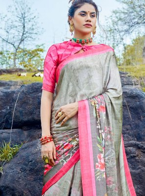 Satin Grey Casual Saree