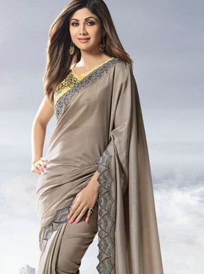 Satin Grey Designer Traditional Saree