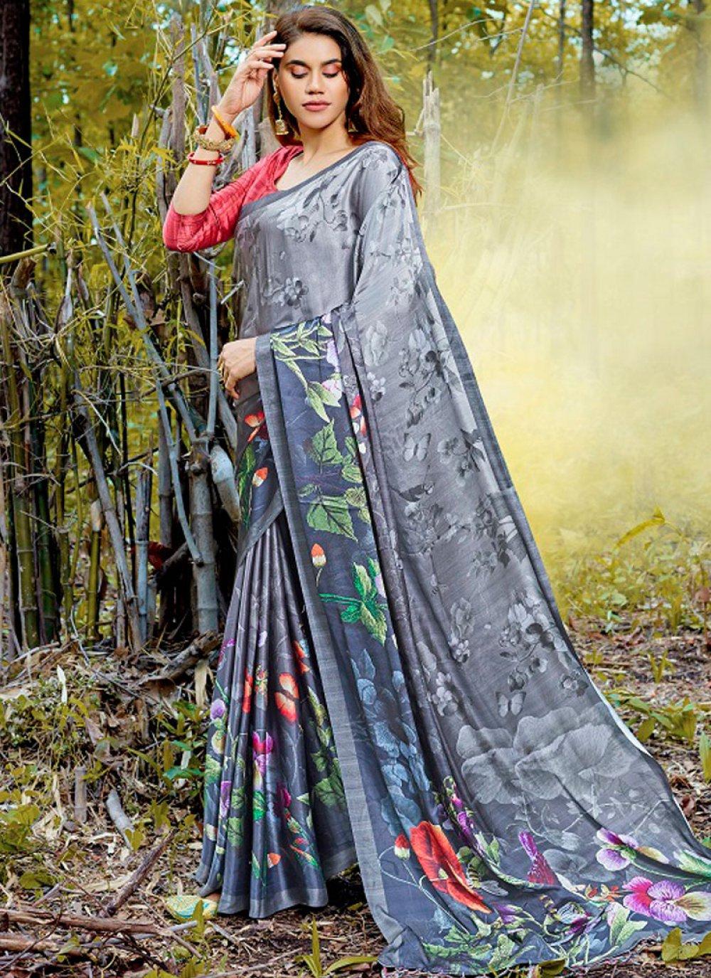 Satin Grey Digital Print Casual Saree