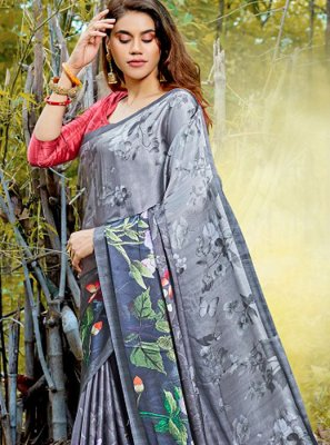 Satin Grey Digital Print Casual Saree