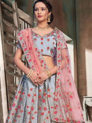 Satin Grey Trendy Lehenga Choli