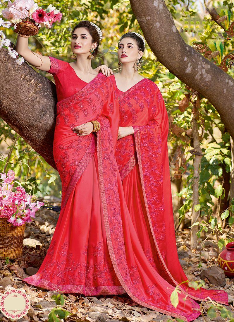 Satin Hot Pink Classic Saree