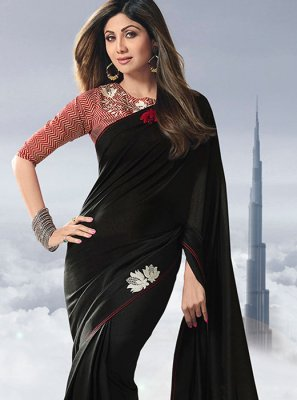 Satin Lace Black Designer Traditional Saree