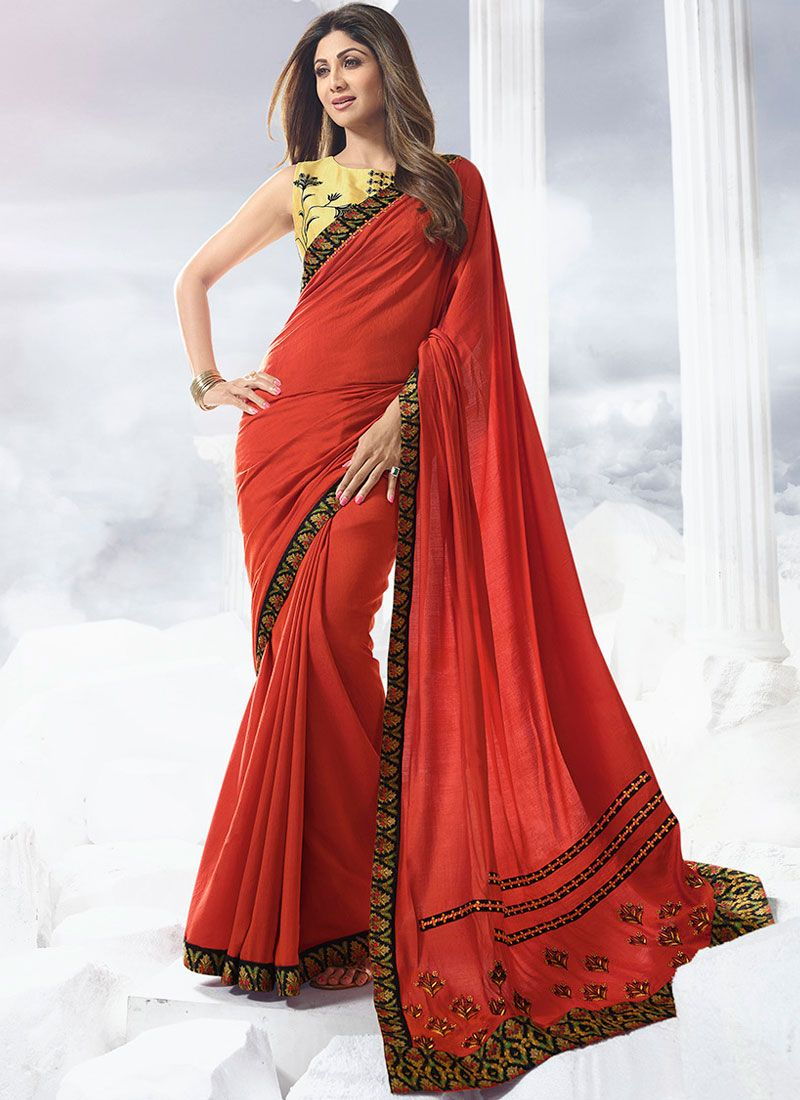 Satin Lace Red Designer Traditional Saree