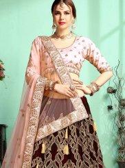 Satin Maroon Resham Designer A Line Lehenga Choli