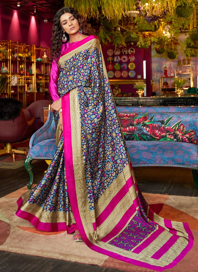 Satin Multi Colour Printed Saree