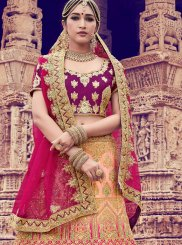 Satin Peach Embroidered Trendy Lehenga Choli
