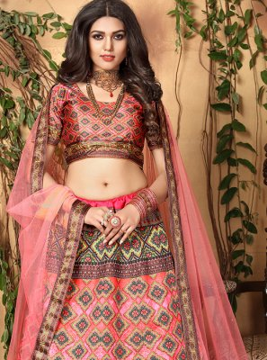 Satin Pink Digital Print Trendy Lehenga Choli