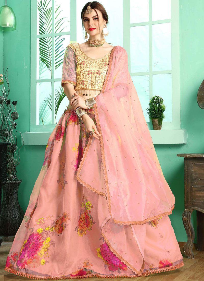 Satin Pink Resham Designer A Line Lehenga Choli