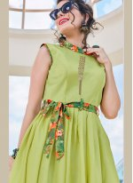 Satin Print Green Readymade Gown