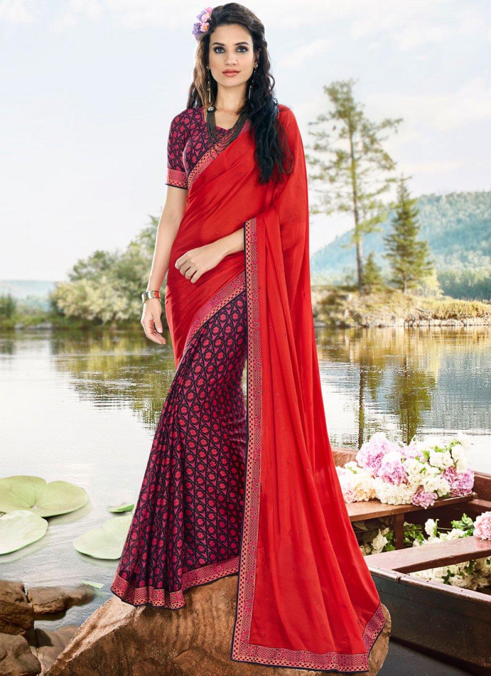 Satin Printed Saree in Multi Colour