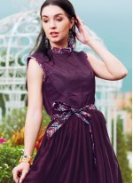Satin Purple Readymade Gown