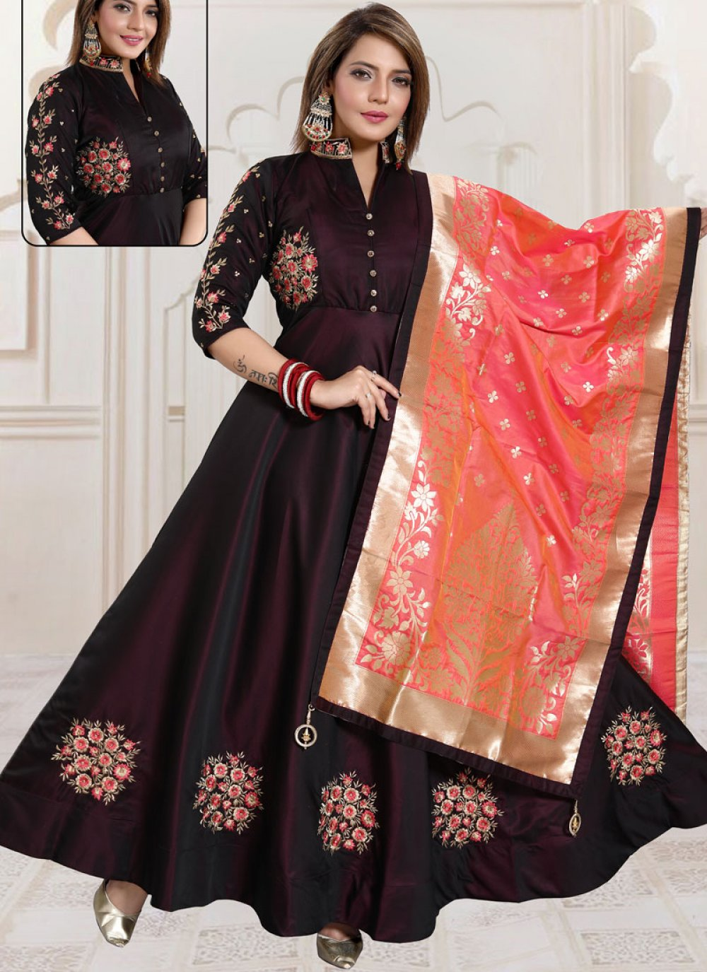 Satin Readymade Suit in Wine