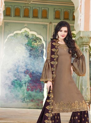Satin Resham Brown Designer Pakistani Suit