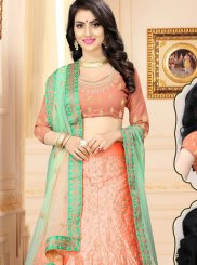 Satin Resham Lehenga Choli in Peach