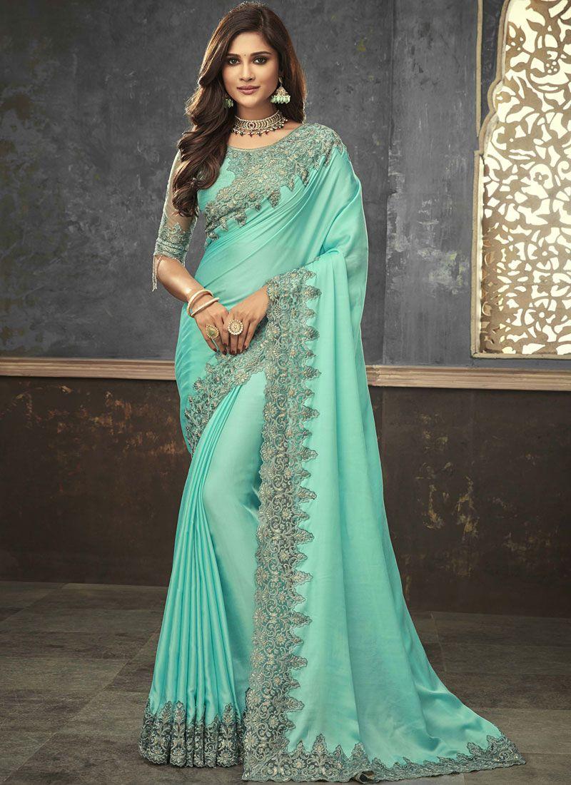 Satin Sea Green Designer Saree