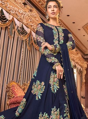 Satin Silk Anarkali Suit in Blue
