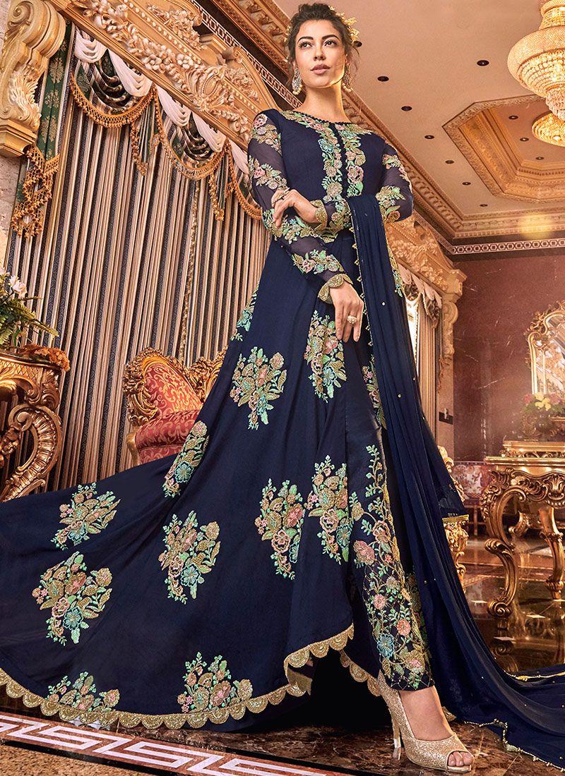 Satin Silk Anarkali Suit in Blue