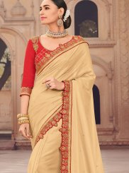 Satin Silk Beige Designer Traditional Saree