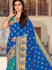 Satin Silk Blue and Sea Green Weaving Designer Half N Half Saree