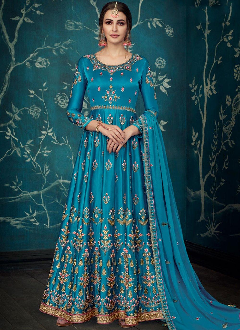Satin Silk Blue Embroidered Anarkali Salwar Kameez