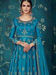 Satin Silk Blue Embroidered Anarkali Salwar Kameez