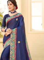 Satin Silk Blue Patch Border Traditional Saree