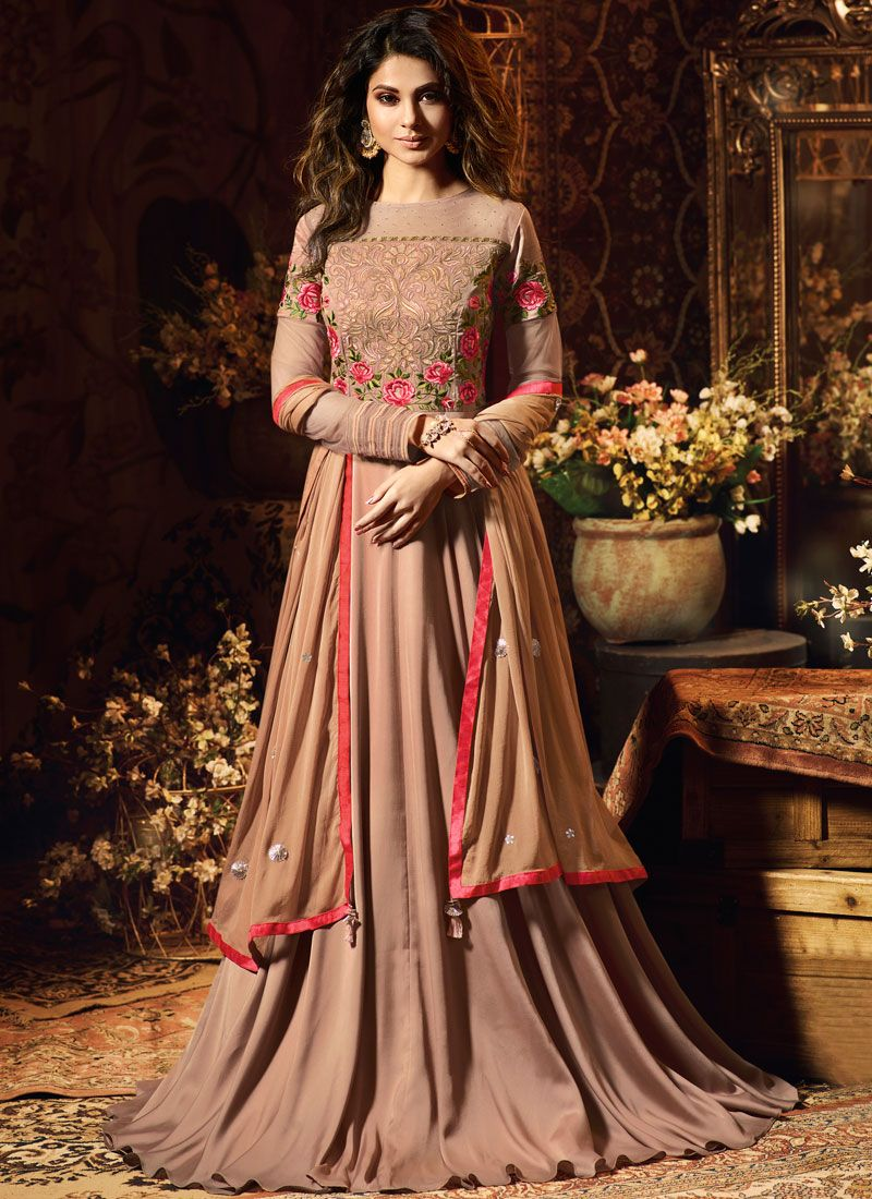 Satin Silk Brown Diamond Anarkali Suit