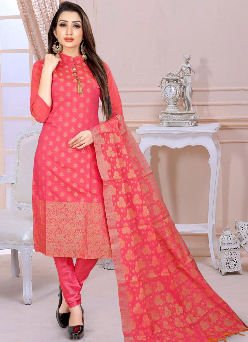 Satin Silk Churidar Designer Suit in Pink