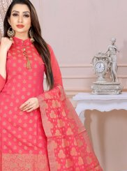 Satin Silk Churidar Designer Suit in Pink