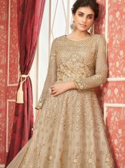 Satin Silk Cream Embroidered Trendy A Line Lehenga Choli