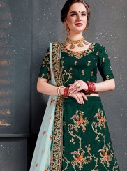 Satin Silk Designer Lehenga Choli in Green