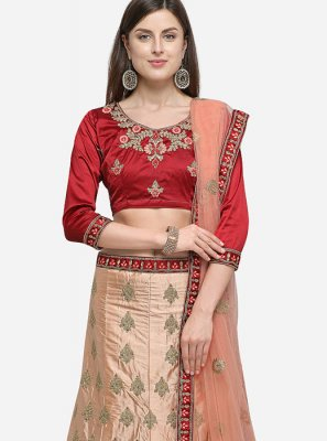 Satin Silk Diamond Peach Trendy Lehenga Choli