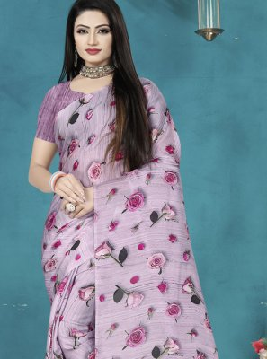 Satin Silk Digital Print Silk Saree in Lavender