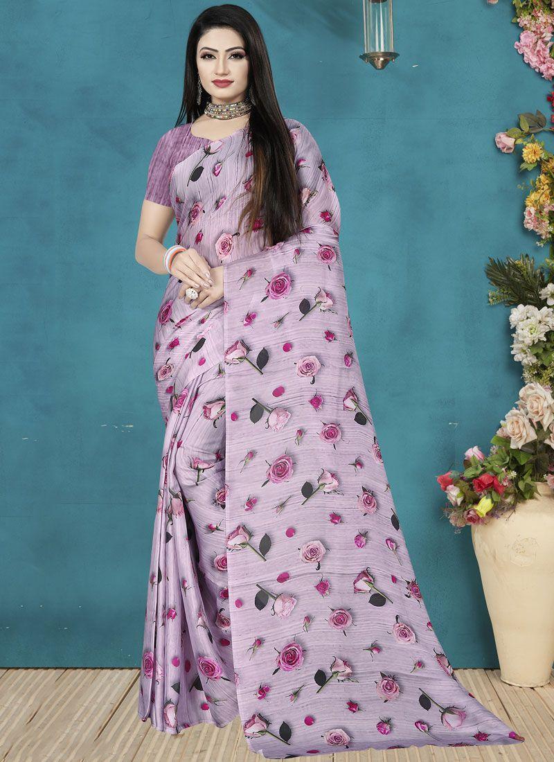 Satin Silk Digital Print Silk Saree in Lavender