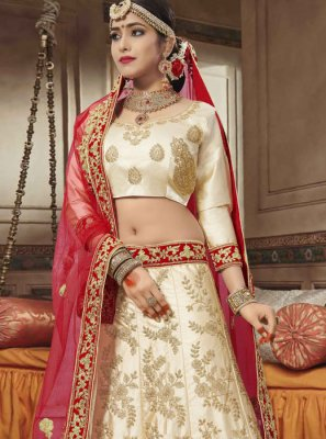 Satin Silk Embroidered Beige Lehenga Choli