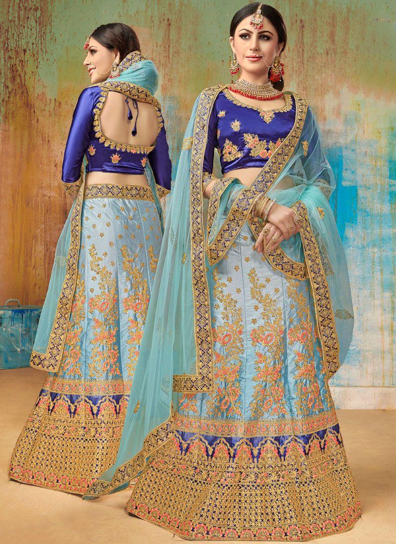 Satin Silk Embroidered Blue Designer Lehenga Choli