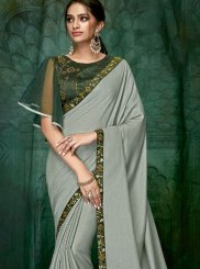 Satin Silk Embroidered Classic Designer Saree