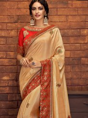 Satin Silk Embroidered Cream Classic Saree