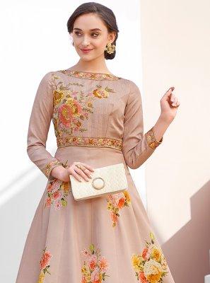 Satin Silk Embroidered Designer Gown