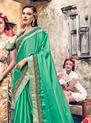 Satin Silk Embroidered Designer Traditional Saree