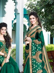 Satin Silk Embroidered Green Designer Saree