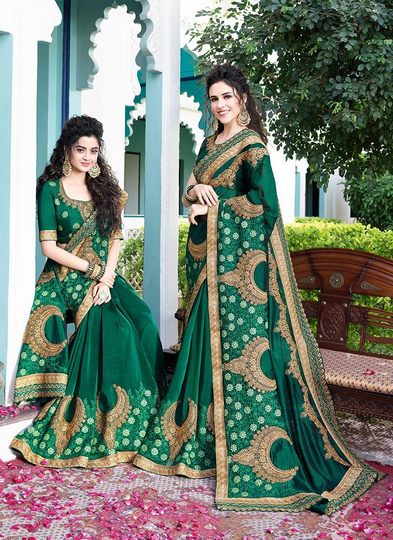 Satin Silk Embroidered Green Designer Saree
