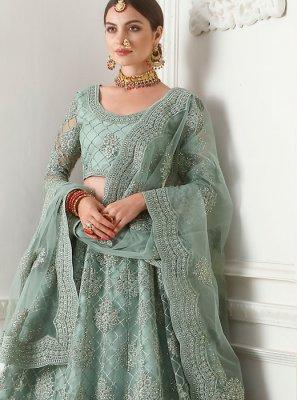 Satin Silk Embroidered Grey A Line Lehenga Choli