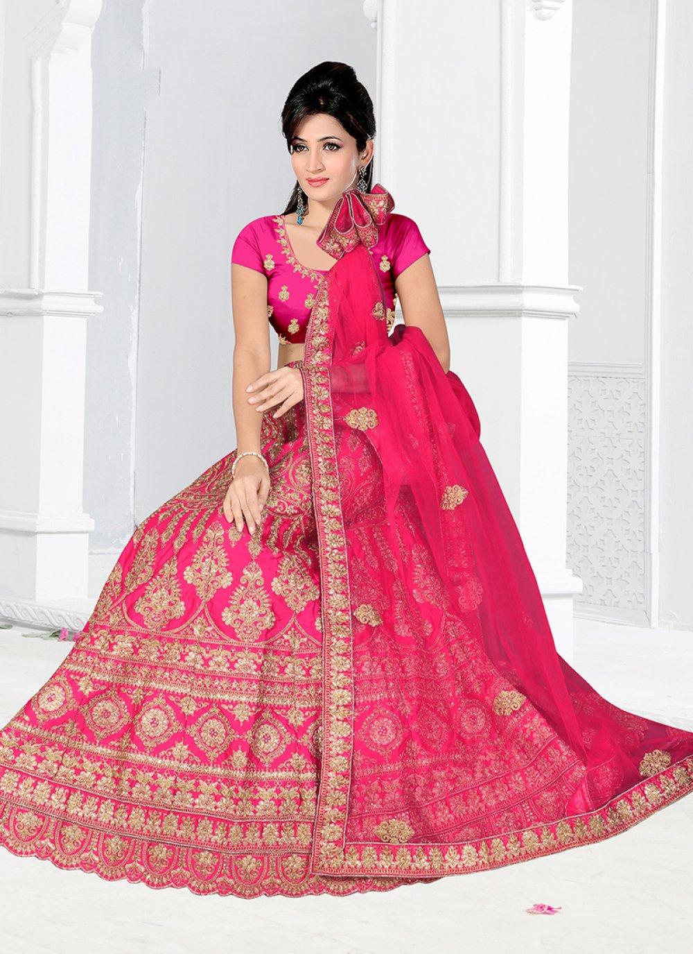 Satin Silk Embroidered Hot Pink Lehenga Choli