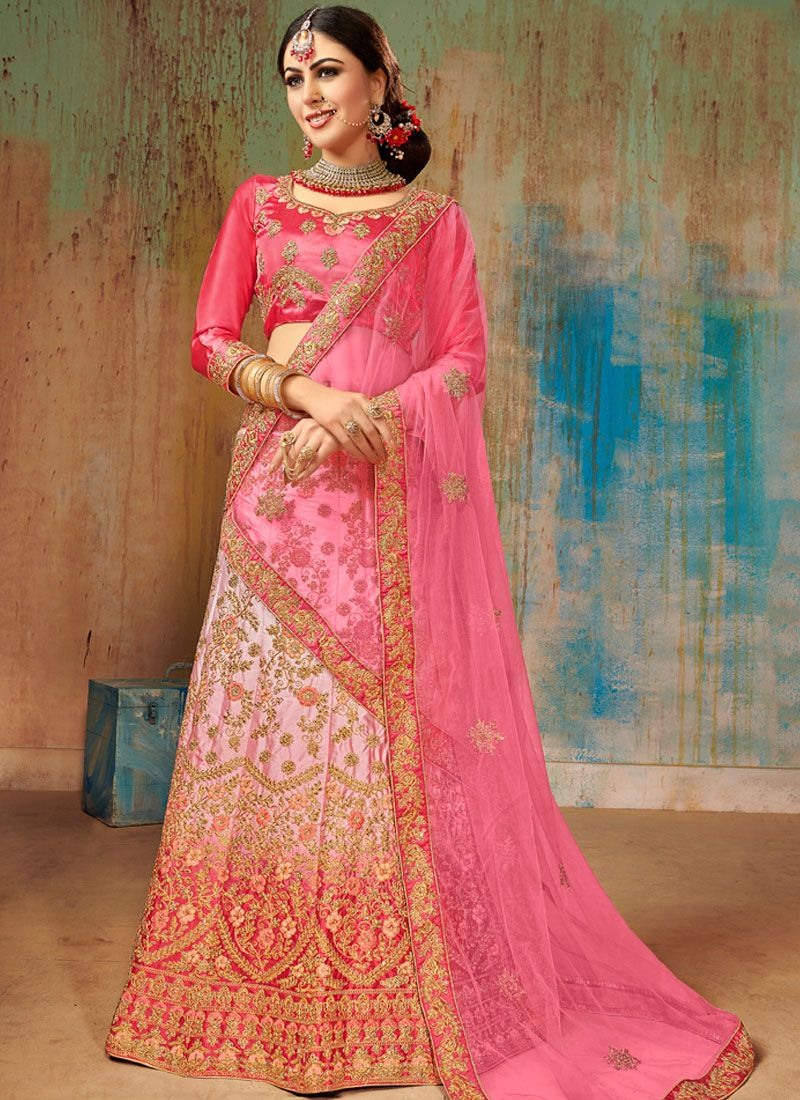 Satin Silk Embroidered Multi Colour Designer Lehenga Choli