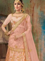 Satin Silk Embroidered Pink Designer Lehenga Choli